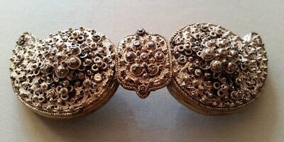 ANTIQUE AUTHENTIC Magnificent  jewelry Ottoman belt buckle filigree silver XIXc.