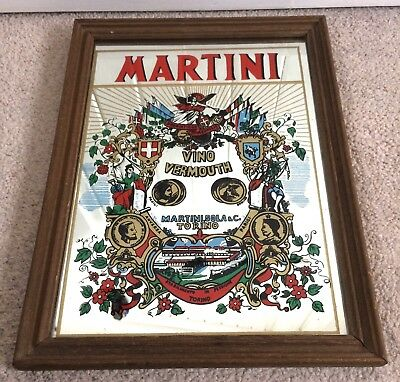 Vintage 1980's Martini Pub Mirror Advertising Torino Vino Vermouth Cocktail Bar