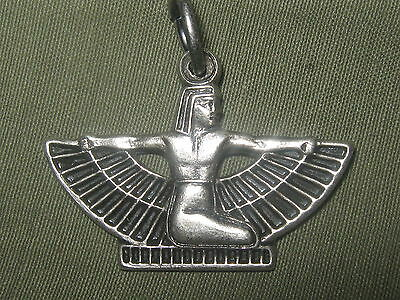 Usa Antique Silver Plated Egypt Egyptian Winged Isis Pendant Charm Necklace