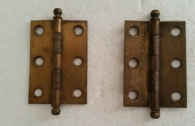 Pair matching vintage brass plated steel 1 1/2 by 2 inch  hinges. (126H)