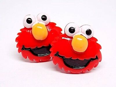 Handmade Elmo Resin Cufflinks Silver Plated Toggles, Gift Boxed!