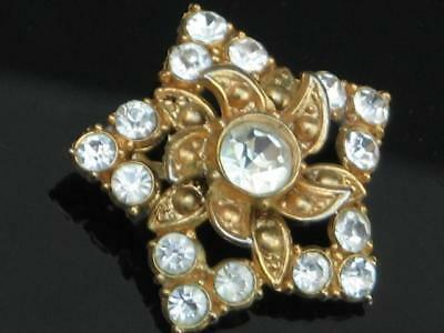 Lovely Vintage 50/60's Gold Plated White Diamante Star Flower Brooch