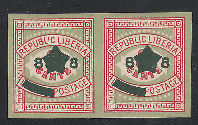 Liberia # 128c MNH 1913 Surcharge IMPERF PAIR