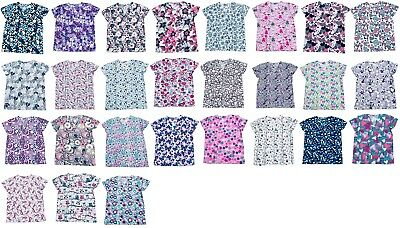 365 Work & Wear Womens Fashion Medical Nursing Scrub Tops Printed XS-2XL Part3