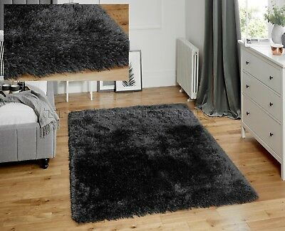 Thick Chunky Deep Soft Dense Pile Dark Charcoal Steel Grey Lush Jewel Shaggy Rug