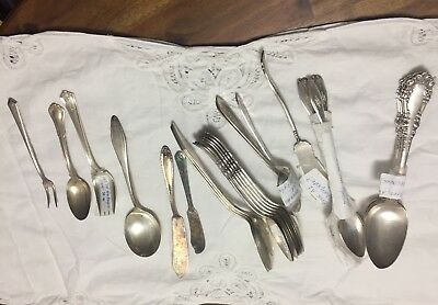 Huge Lot of ANTIQUE SILVER-PLATE Tongs Flatware and Serving Pieces Silverplate