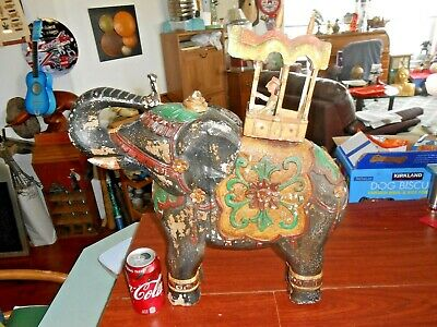 "Vintage Indian Elephant Hand Carved Wood Ceremonial 18"" High"