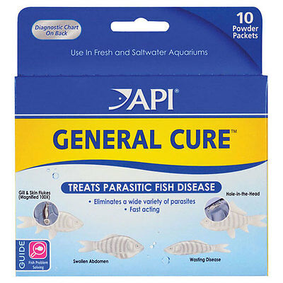 API General Cure Treats Parasitic Fish Diseases FRESHWATER / SALTWATER Aquarium