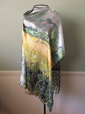 100% Silk Scarf, Van Gogh Irises,Blue, Gold, Iris Flowers, Hand Rolled Edge
