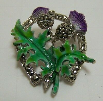 VINTAGE  ENAMEL & SILVER MARCASITE SCOTTISH CELTIC THISTLE BROOCH PIN Horeshoe