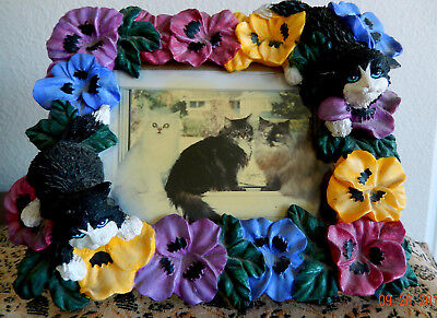 Cat Photo Frame with Pansies and Black and White Cats