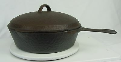 Vintage Antique Unmarked Hammered Cast Iron Chicken Frying Pan Skillet & Lid