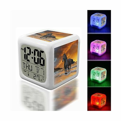 Digital Alarm Thermometer Night Glowing Cube 7 Colors Clock LED Customize the...