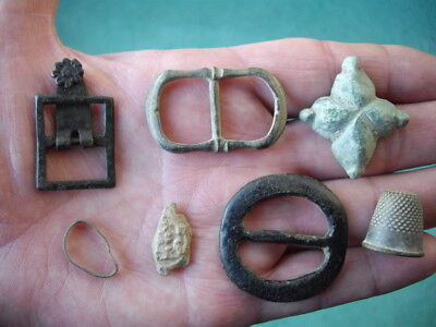 Medieval ARTIFACT Detecting Find LOT- thimble bronze