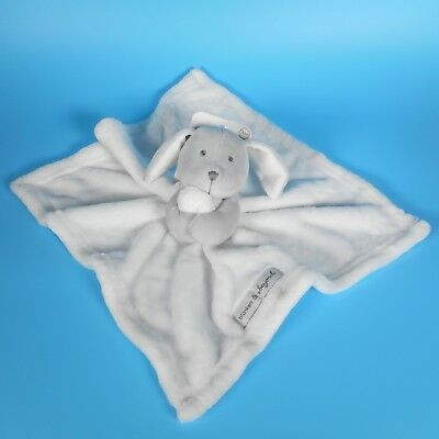 NEW Blankets & Beyond White Grey Bunny Rabbit Security Blanket Lovey Nunu NWT