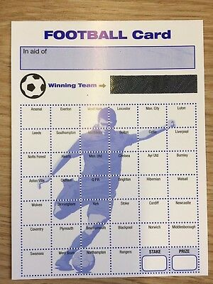 Pack of 10 Fund Raising Charity Event Football Scratch Cards 40 Team