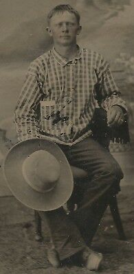 """Rare Western Cowboy Clothes and Hat Tintype John Stetson """" Boss of the Plains """""""