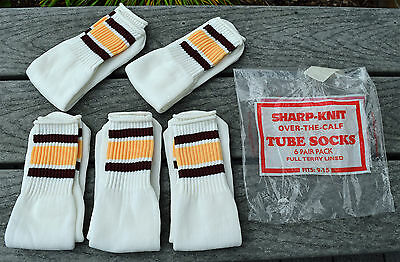 Vintage Tube Socks 1970's 80's Terry Lined Striped sz 9 10 11 12  (5 Pair NEW)