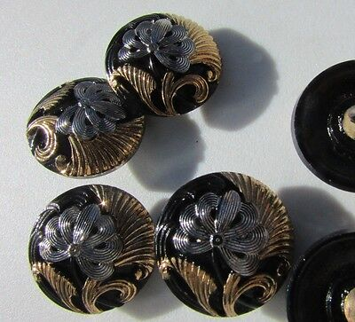 Button Antique Black Glass Picture Silver & Gold Flower Luster Carved Rare Set 6