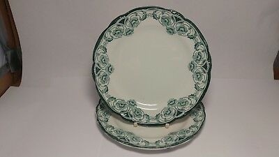 "Pair of Antique c1890s New Wharf Pottery Berkley 8 1/8"" Salad Plates"