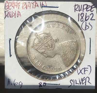 Great Britain/India 1862b Rupee Silver Coin A/11 - 0/4 Type II Reverse