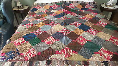 "Antique CRAZY QUILT, Log Cabin, Embroidered Wool Tab Edge, 58""x58"", Folk Art"