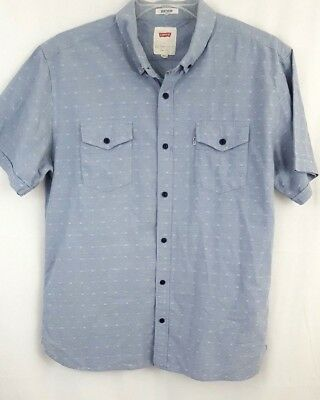 Levis Strauss Mens Chambray Shirt Size Large Short Sleeve Button Down Blue