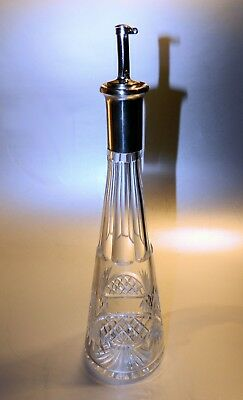European Cut Glass BARBER Bottle with Applicator and 800 Silver Rim, No Reserve!
