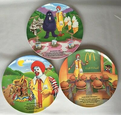 "Set of 3 Ronald McDonald Melamine Plates Unused 1989 VTG 9 1/2"" Plastic Dinner"