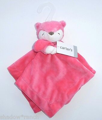 Carters Pink Fox Security Blanket Plush Salmon White Baby Lovey Rattle Toy 2015