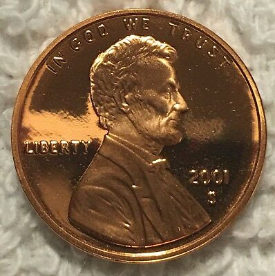 2001 -S Proof Lincoln Cent Pulled From U.s. Mint Set Wow Look