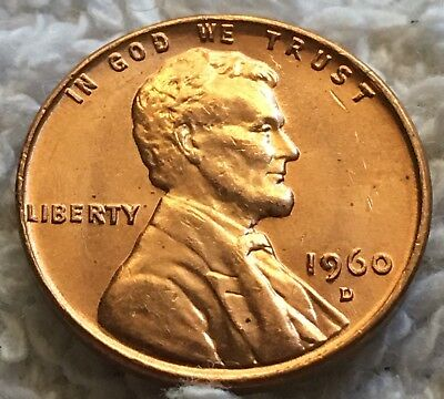 1960-D Lincoln Cent Small Date Unc Pulled From Obw Roll From Old Safe Collection
