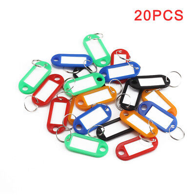 20Pcs Key Tags Luggage  Plastic Assorted Key Rings Coloured Plastic Id Name Fob