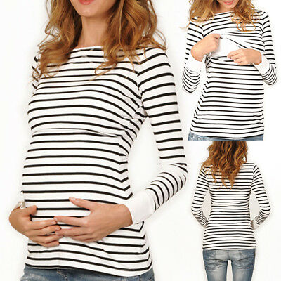 2018 Women Maternity Breastfeeding Tee Nursing Tops Striped Long Sleeve T-shirt