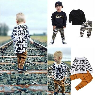 2pcs Toddler Kids Baby Boys Clothes Cotton T-shirt Tops + Long Pants Outfits Set