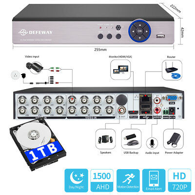 1080N 16CH 5in1 Motion Email DVR 1500TVL CCTV Security Video Recorder 1TB HDD