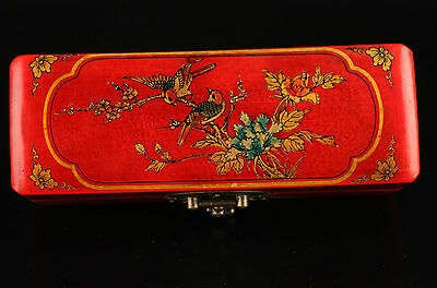 Collection Vintage Wood Red Leather Two Oriole Birds Beautiful Trees Jewelry Box