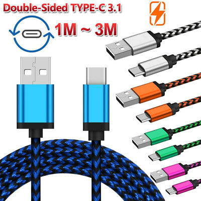 1M/2M/3M Braided Type C Charger Cable Data Sync Cord For Samsung S8/S9 Plus Lot