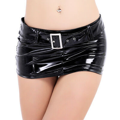 Damen Lackleder Minirock Trend Skirt Lederrock Mini Pencil Rock kurz Damenrock