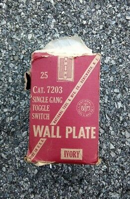 Vtg 19 NOS National Tool Toggle Switch Plates Art Deco Ivory Single Gang
