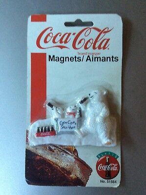 "Vintage 1996 ""Coca~Cola Sold Here"", 3"", Polar Bear Magnet New In Package"
