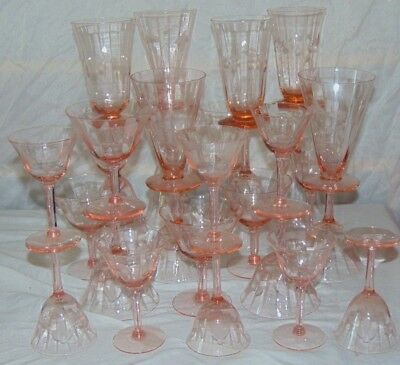 28 Pink Depression Glass Etched Ice Tea Water Wine Champagne Goblets Glasses