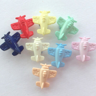 Novelty aeroplane buttons blue, white, red or mixed colours per 10 buttons 15mm