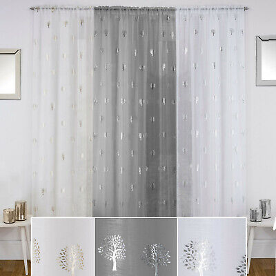 BIRCH Metallic Trees Print Voile Net Curtain Ready Made Slot Top Single Panel