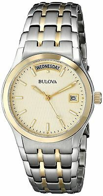 Bulova 98C60 Men's Two Tone Stainless Steel Classic Day Date Analog Watch