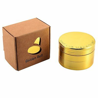 Metal Herb Grinder 4 Piece 2 Inch Gold Zinc Alloy Spice Herbal Tobacco Crusher
