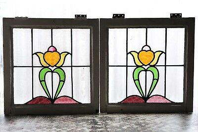 Pair of Antique Stained Glass Windows Stunning Five (5) color Tulips (3095)
