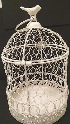 Farmhouse Decor Metal Birdcage Chicken Wire Cream Hinged Top 10.5 Inches Tall