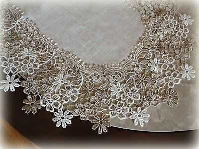 "Dresser Scarf Doily Sophisticated Floral Neutral Daisy 36"" x 16"" Table Runner"