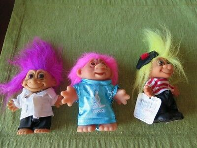 NWT Lot of 3 TROLL Dolls France Doctor Virgo Dam Doll